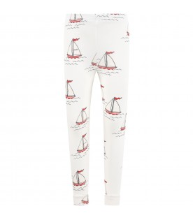 White leggings for kids with boats
