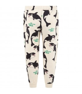 Ivory sweatpant for kids with orcas
