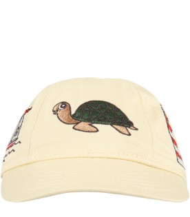 Beige hat for kids with red logo