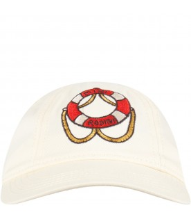 Ivory hat for kids with red logo