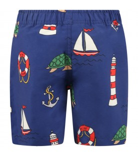 Blue swimsuit for boy with turtles