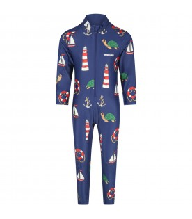 Blue suit for kids with white logo