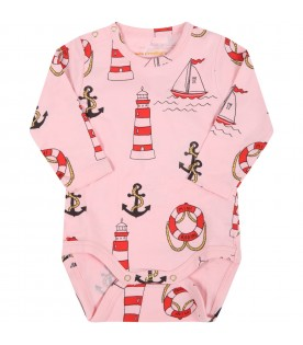Pink body for baby girl with anchors