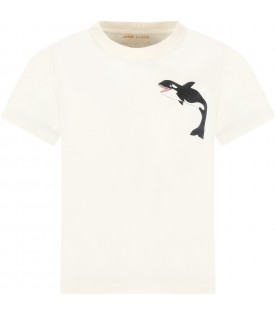 Ivory T-shirt for kids with baby orca