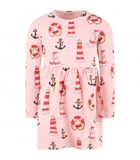 Pink dress for girl with anchors