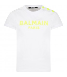 White t-shirt for kids with neon yellow logo