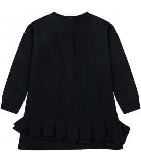 Black dress for baby girl with logo