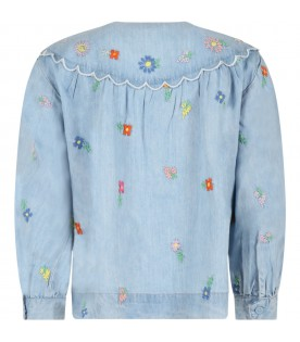 Light blue blouse for girl with flowers