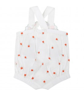 White romper for baby girl with flowers