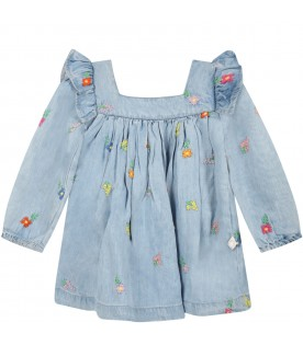 Light blue dress for baby girl with flowers
