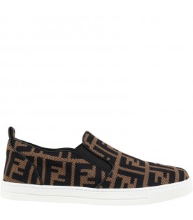 Brown slip-ons for kids with double FF