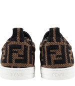 Fendi Kids Brown slip-ons for kids with double FF