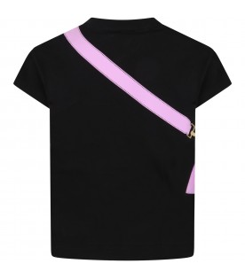 Black t-shirt for girl with purple bag