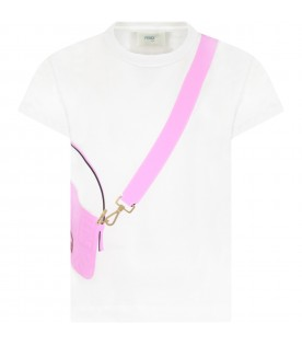 White t-shirt for girl with purple bag