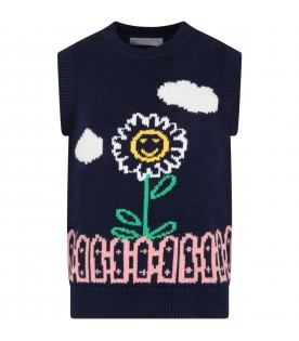 Blue vest for kids with flowe and clouds