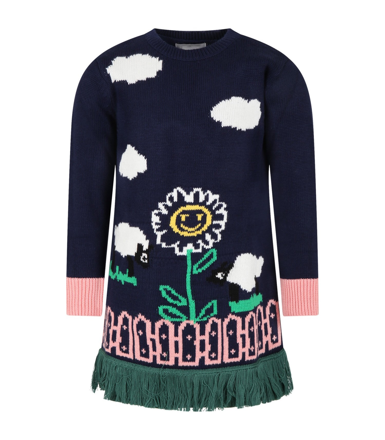 Stella Mccartney Kids Blue dress for girl with flower and clouds