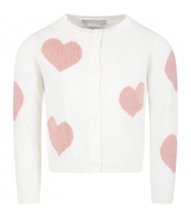 Ivory cardigan for baby girl with pink hearts