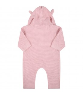 Pink jumpsuit for baby girl with bears ears