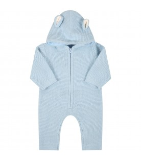 Light blue jumpsuit for baby boy with bears ears