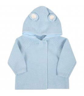 Light blue cardigan for baby boy with ears