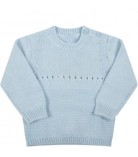 Light blue sweater for baby boy with dog