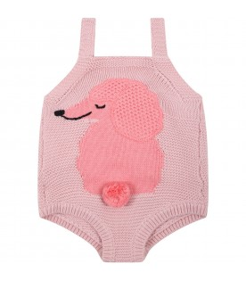 Pink body for baby girl with pink dog