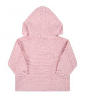 Pink cardigan for baby girl with ears