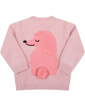 Pink sweater for baby girl with pink dog