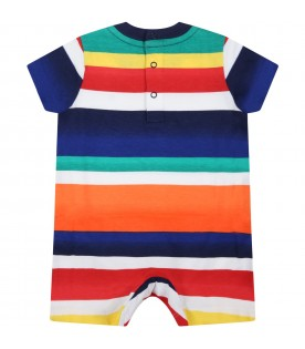 Multicolor romper for baby boy with pony logo