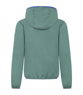 Green wind jacket for boy with iconic logo