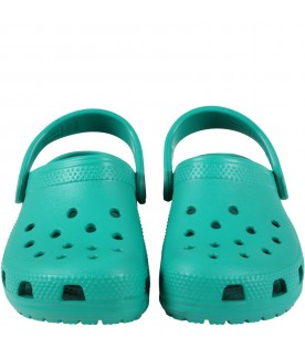 Green sabot for kids with logo
