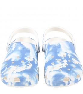Light blue sabot for kids with clouds