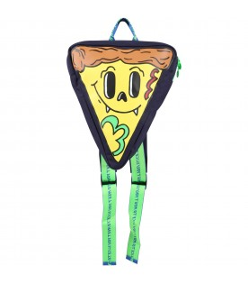 Blue backpack for boy with pizza