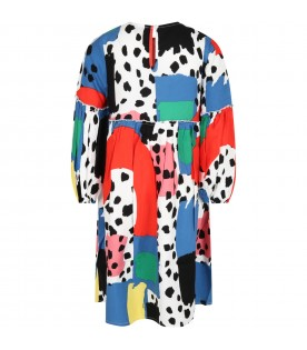 Multicolor dress for girl with dalmatian spots