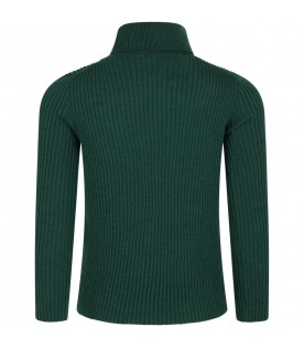 Green turtleneck for kids with logo