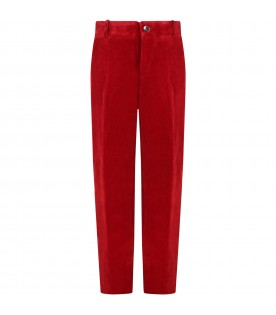 Red trouser for kids with logo