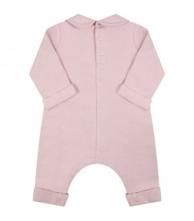 Pink jumpsuit for baby girl with logo