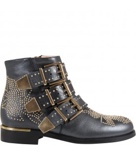 Black boots for girl with studs