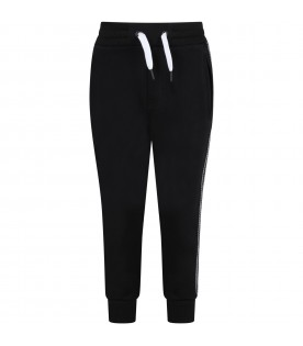 Black sweatpant for kids with logos