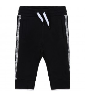 Black sweatpant for baby kids with logos
