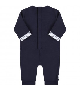 Blue jumpsuit for baby boy with logo
