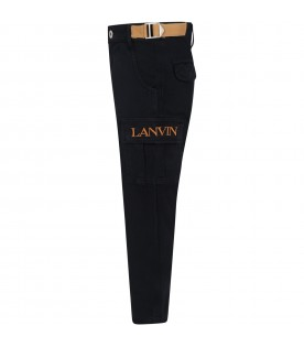 Black cargo-pants for boy with logo