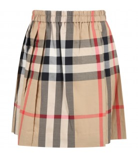 Beige skirt for girl with check vintage