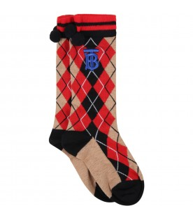 Beige socks for kids with red check vintage