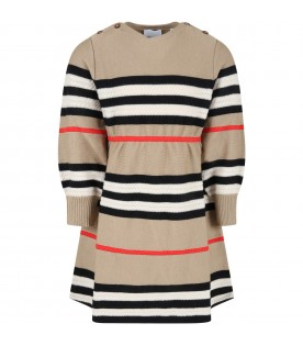 Beige dress for girl with check vintage