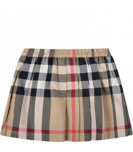 Beige skirt for baby girl with check vintage