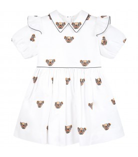 White dress for baby girl with Thomas Bear