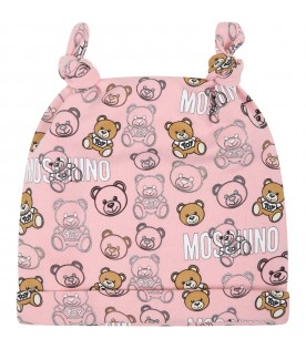 Pink set for baby girl with teddy bears