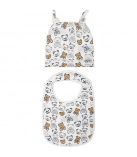 White set for baby kids with teddy bears