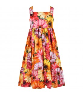 Multicolor dress for girl with gerberas